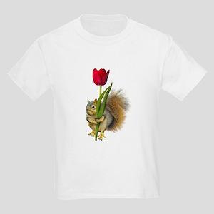 Squirrel Red Tulip Kids Light T-Shirt