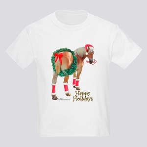 Christmas Draft Horse Belgian Kids Light T-Shirt