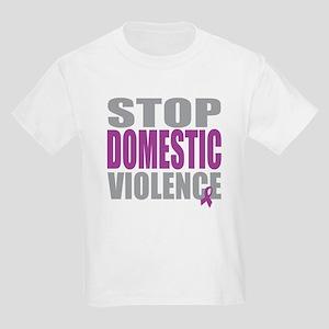 Stop Domestic Violence Kids Light T-Shirt