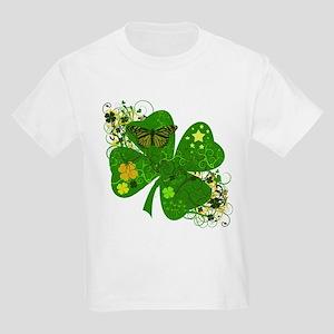 Fancy Irish 4 leaf Clover Kids Light T-Shirt