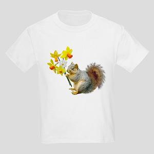 Squirrel Daffodils Kids Light T-Shirt