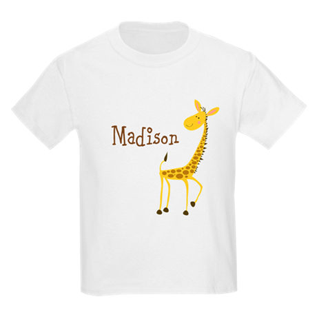 Custom Name Giraffe Kids Light T-Shirt