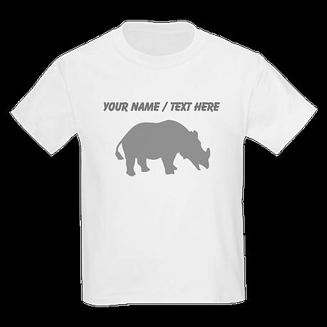 Personalized Grey Rhino Silhouette T-Shirt