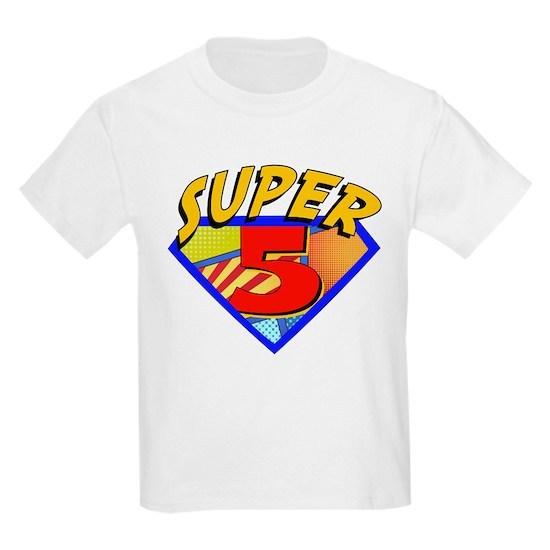 Superhero 5 Birthday Kids Light T Shirt By Stargazer