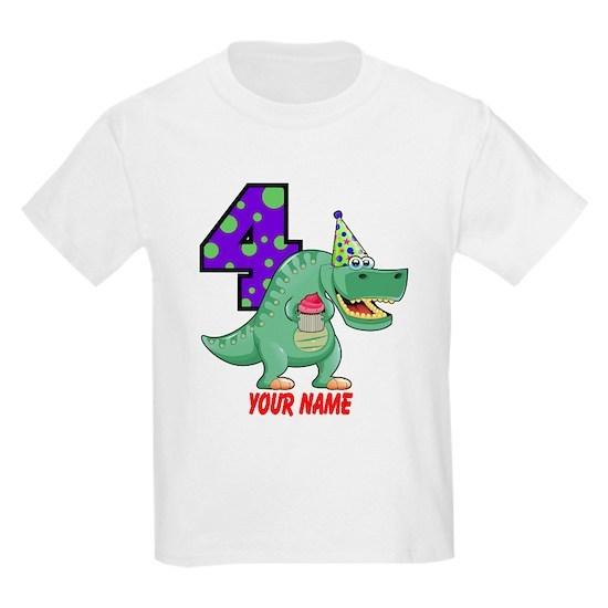 f7564770 T-Rex 4th Birthday Custom Kids Light T-Shirt by Stargazer - CafePress