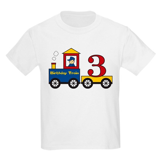 3 Year Old Birthday Train Kids Light T Shirt Birthdaytrain3