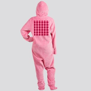 Simple White Pink Plaid Pattern  Footed Pajamas