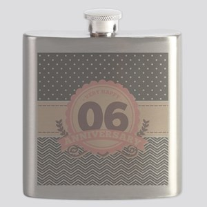 6th Anniversary Gift Chevron Dots Flask