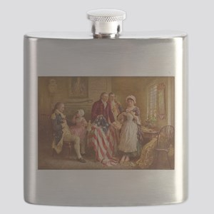 Betsy Ross Designing The Tea Party Flag Flask