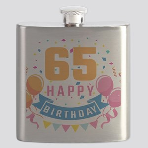 65th Birthday Balloon Banner Confetti Fun Gi Flask