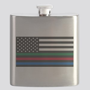 Thin Blue Line Decal - USA Flag - Red, Blue Flask