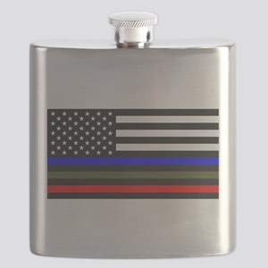 Thin Blue Line Decal - USA Flag Red, Blue an Flask