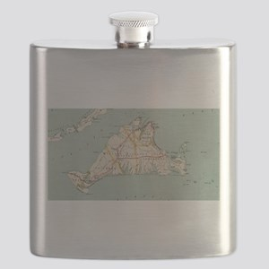 Vintage Map of Martha's Vineyard (1917) Flask