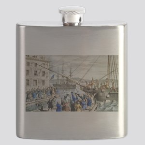 Destruction of tea at Boston Harbor - 1846 Flask