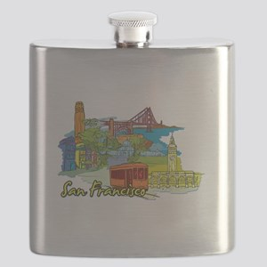 San Francisco Travel Poster Flask