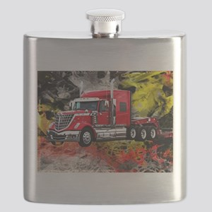 Big Truck - Red and Chrome Flask