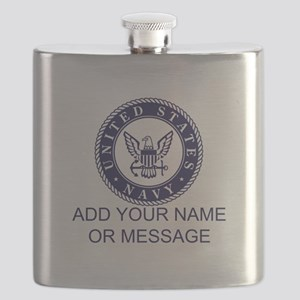 PERSONALIZED US Navy Blue White Flask