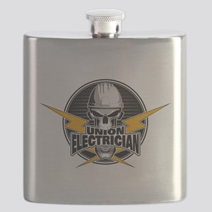 Union Electrician Skull Flask