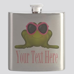 Frog in Pink Sunglasses Custom Flask