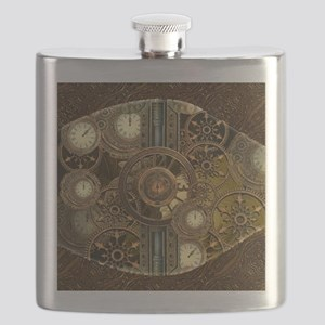 Steampunk, awessome clocks with gears Flask