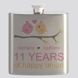 11th Anniversary Personalized Flask