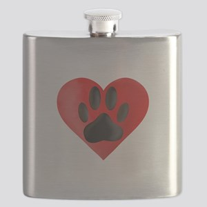 Painted Dog Paw Print In Red Heart Flask