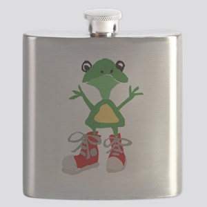 Frog in Red Sneakers Flask