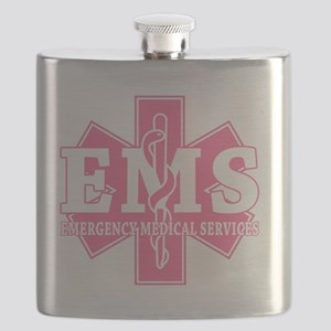 star of life - pink EMS word Flask