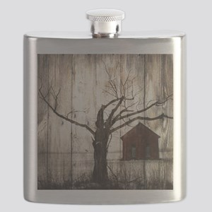 rural landscape old barn Flask