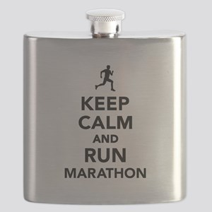 Keep calm and run Marathon Flask