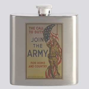 WWI Join the Call to Duty Army Propaganda Flask