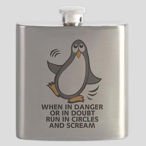 When in Danger or in Doubt Funny Penguin Gra Flask