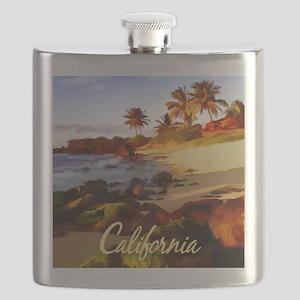 Palms, Beach, Rocks Ocean at Sunset Califor Flask