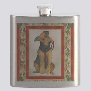 Airedale Terrier Christmas Flask