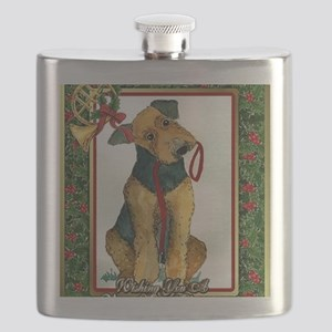 Airedale Terrier Dog Christmas Flask