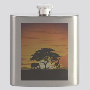 Wild Animals on African Savannah Sunset Flask