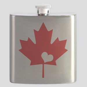 Canada Day Maple Leaf and Heart Flask