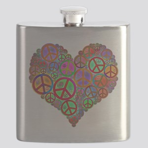 Peace Sign Heart Flask