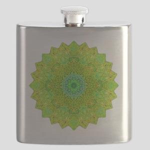 Green Yellow Earth Mandala Shirt Flask