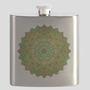 Green Gold Heart Chakra Mandala Yoga Shirt Flask