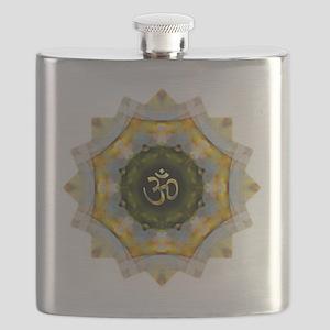 Gold Green Yoga Om Mandala Shirt Flask