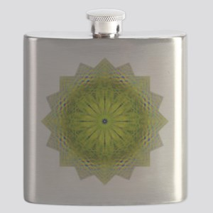 Green Flower Heart Chakra Mandala Yoga Shirt Flask