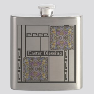 Black Greek Key Daffodil 11X11 Flask