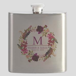 Boho Wreath Wedding Monogram Flask