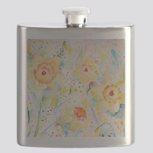 Watercolor Daffodils Pattern Flask