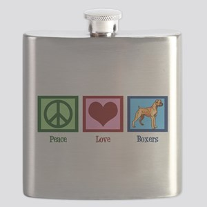 Peace Love Boxer Dog Flask