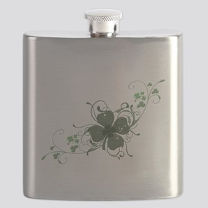 Elegant Shamrock Design Flask