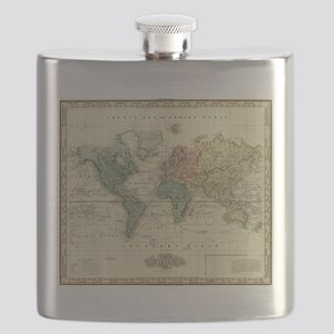 Vintage Map of The World (1823) Flask