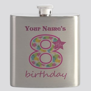 8th Birthday Splat - Personalized Flask