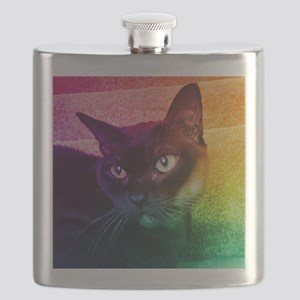Burmese Cat Portrait B Flask